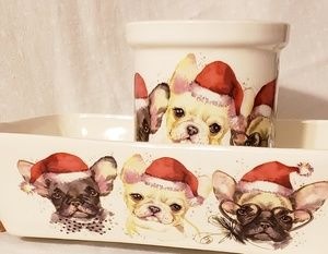 New Ceramic Holidays Frenchie Table Ware.